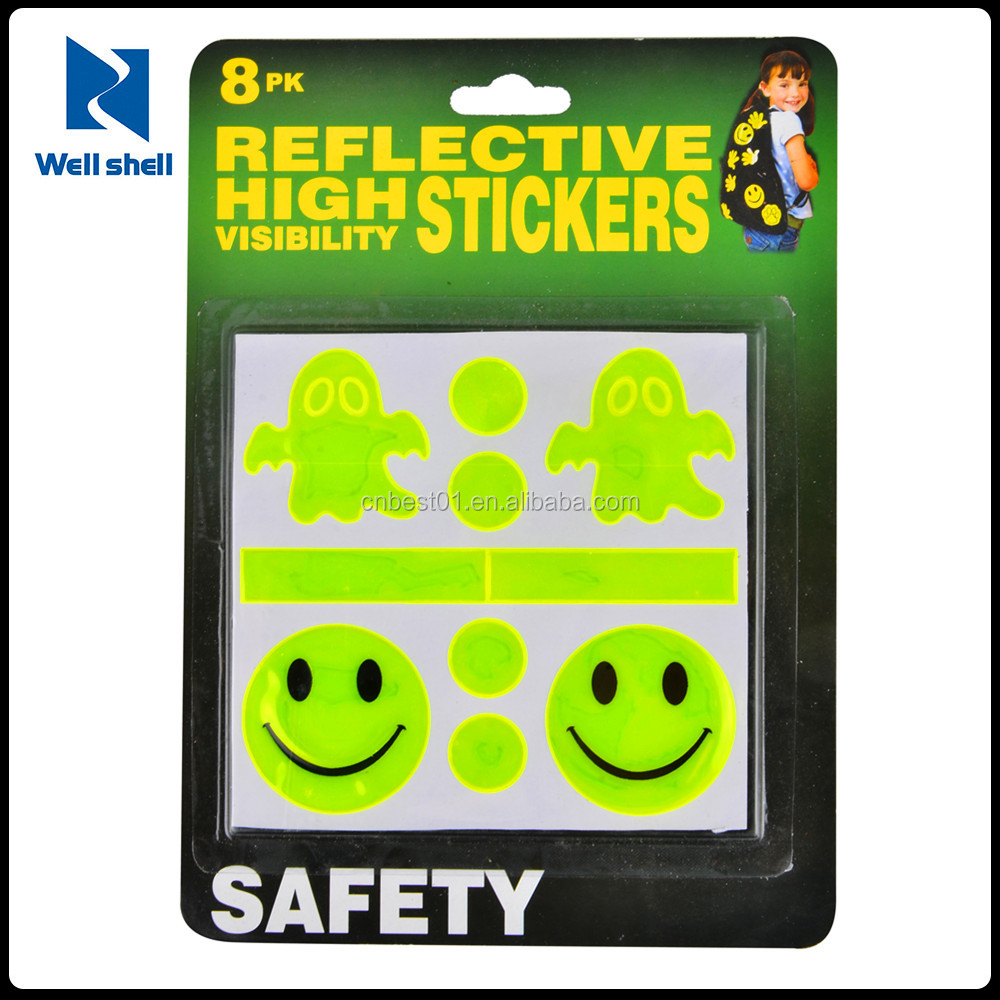 1Pc For Baby Car Bicycle Reflective Sticker Safety Mark Decal Smile Face Popular