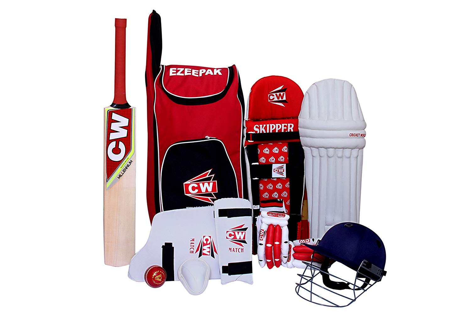 C&W Sports Cricket Kit Red Combo Batting Kit Set Equipment Premium Quality For Practice & Club Matches With Short Handle Kashmir Willow Millennium Cricket Bat