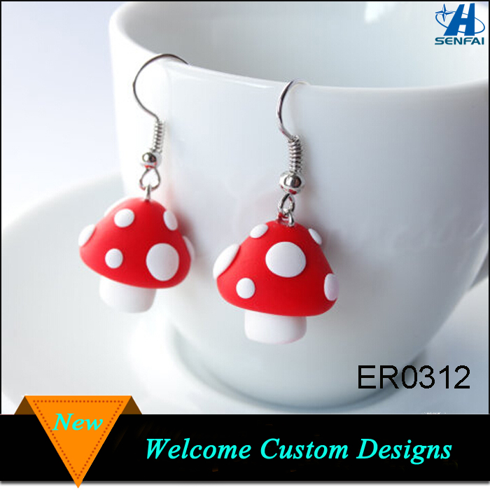 Hot Selling Enamel Mushrooms Earring, Bright red with white dots autumn kawaii charm Mushrooms Earring
