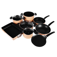 11pcs aluminum 7pc cookware set nonstick fry pan casserole cooking pot grill pan kitchenware set