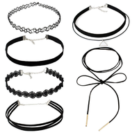 6 PCS/Set Hot selling Black Velvet Choker Necklace Tattoo Lace Collar Necklace for Women Jewelry