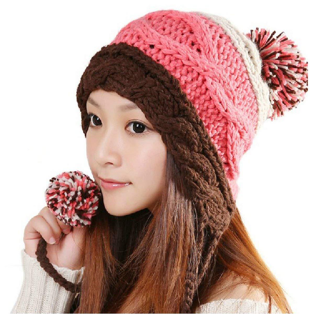 6758f3c0c68 Get Quotations · Joyci Christmas Girls Thick Warm Knit Pom Pom Hat Ear Flap  Beanie Ski Winter