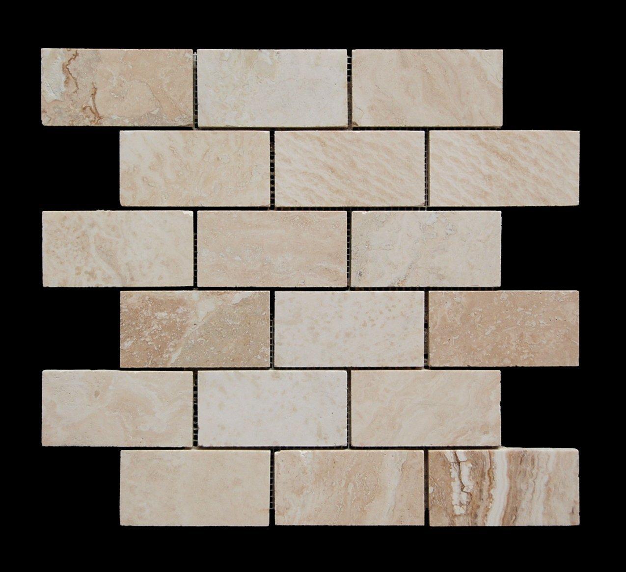 Romano 2X4 Filled and Honed Travertine Brick Mosaic Tile