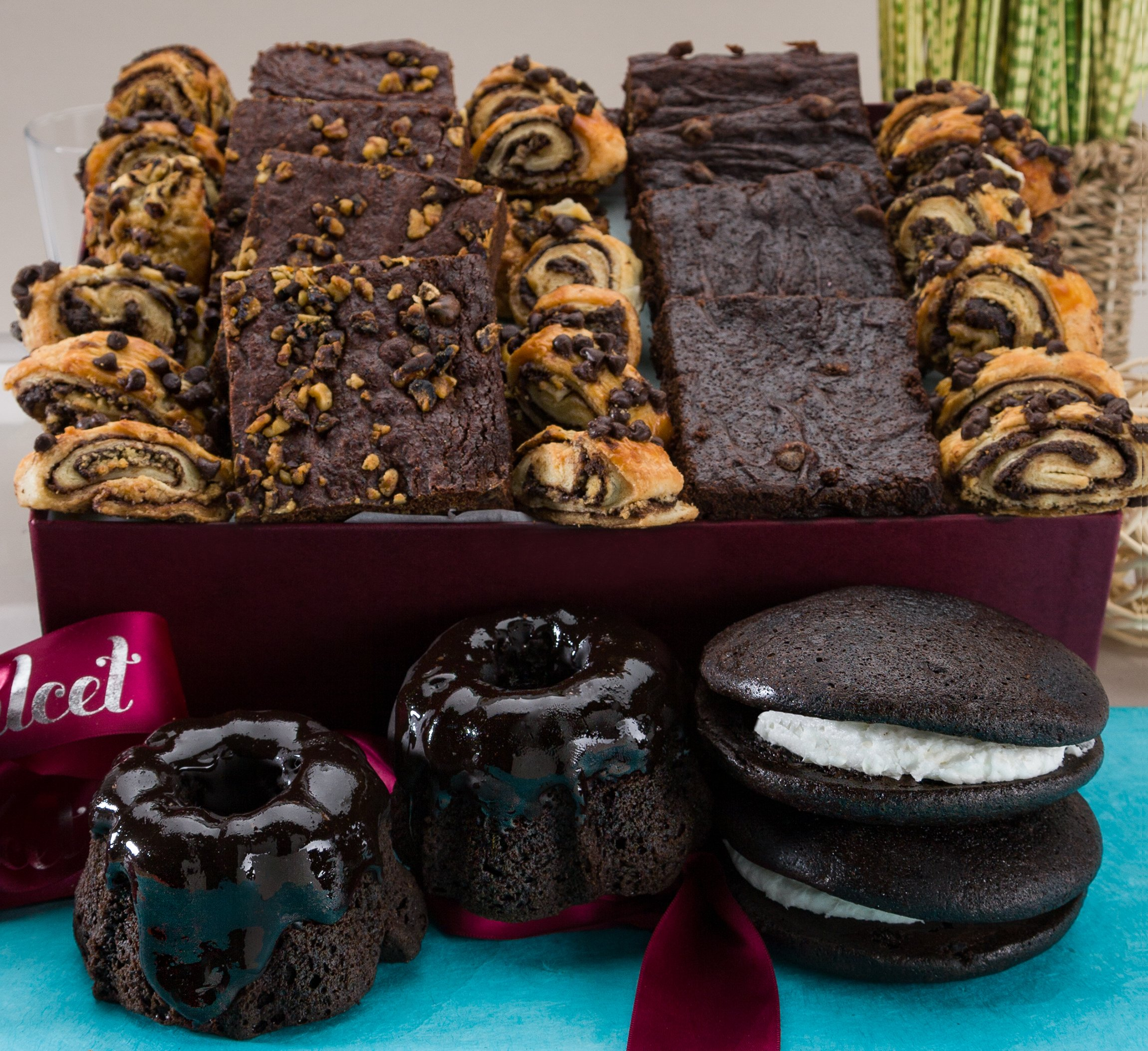 Gourmet Chocolate Lovers Brownie Ganache Bakery Collection Prime mothers Day Gifts Filled with: Chocolate Bundts, Brownies, Chocolate Whoopee Pies, Assorted Rugelach, great gourmet gift basket!