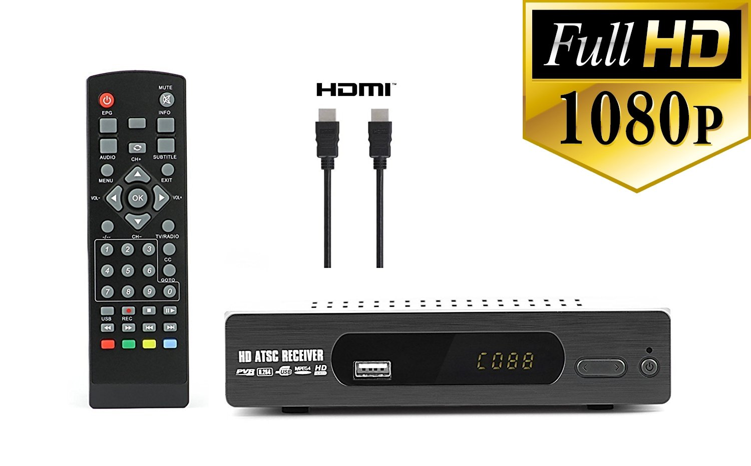 Get Quotations · DTV Converter Box + HDMI Cable for Recording and Viewing  Full HD Digital Channels for FREE