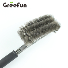 Custom Logo Wholesale Amazon Top Seller Hot Sale Sturdy 18'' Size 3 in 1 Head BBQ Grill Cleaning Brush with Strength Clip