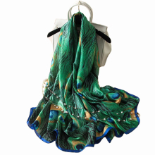 Wholesale indian large shawl printed turkish raw silk square scarf women silk scarves and shawls