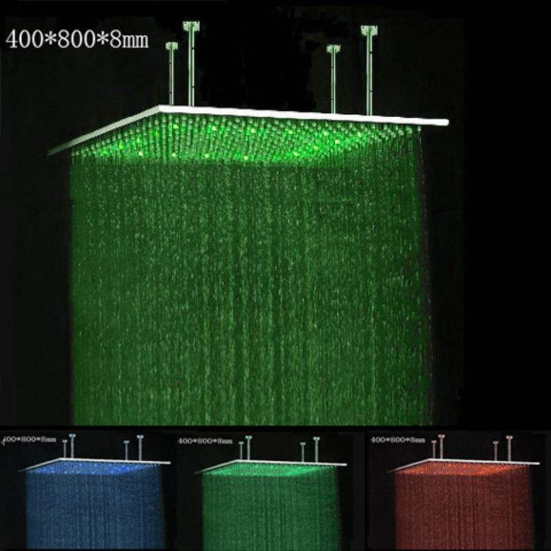 Ultra Thin 8mm Polished Rgb Led Light Shower Head/bathroom Led ...