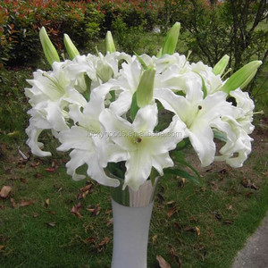 LF553 high quality white PU artificial easter lily flower wholesale