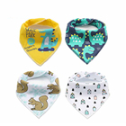 NEW hot happy flute super soft organic cotton printed wholesale animation baby drool bandana bib with pacifier clip