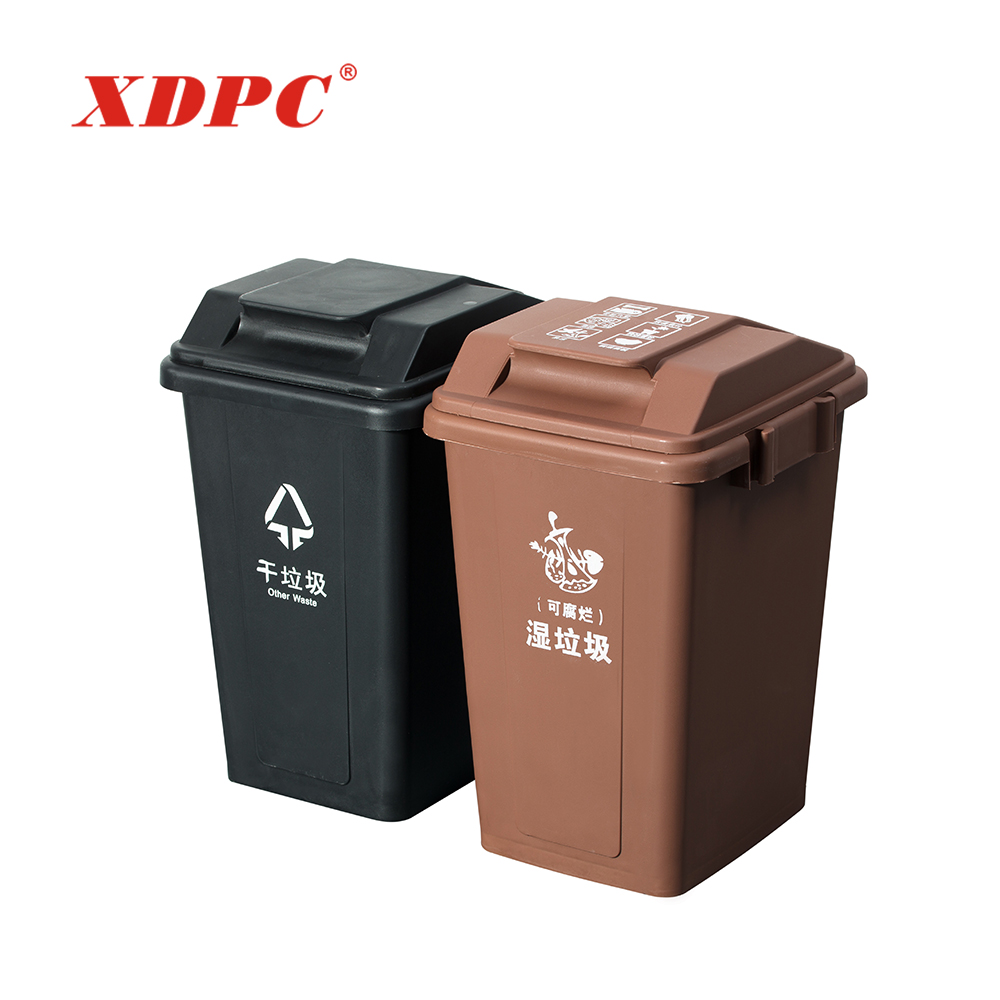 Durable public place roadside rectangle plastic restaurant commercial trash recycle garbage bin dustbin