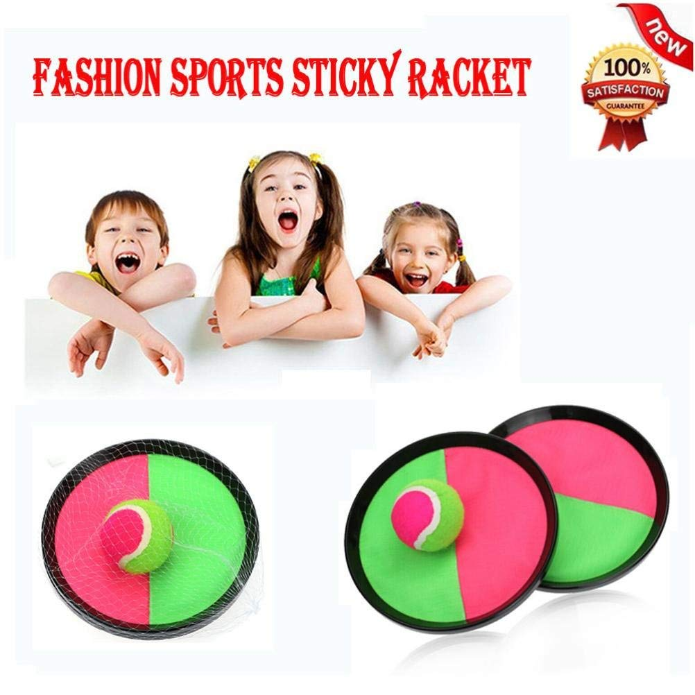 Dreamyth Fashion Sports Sticky Racket, Ball Game With Disc Paddle, Pink And Green, Mesh Bag,American Warehouse Shippment