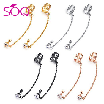 Stainless Steel Ear Cuff Chain Linked Earring Cubic Zirconia Stud Clip Earrings On Holder Vintage