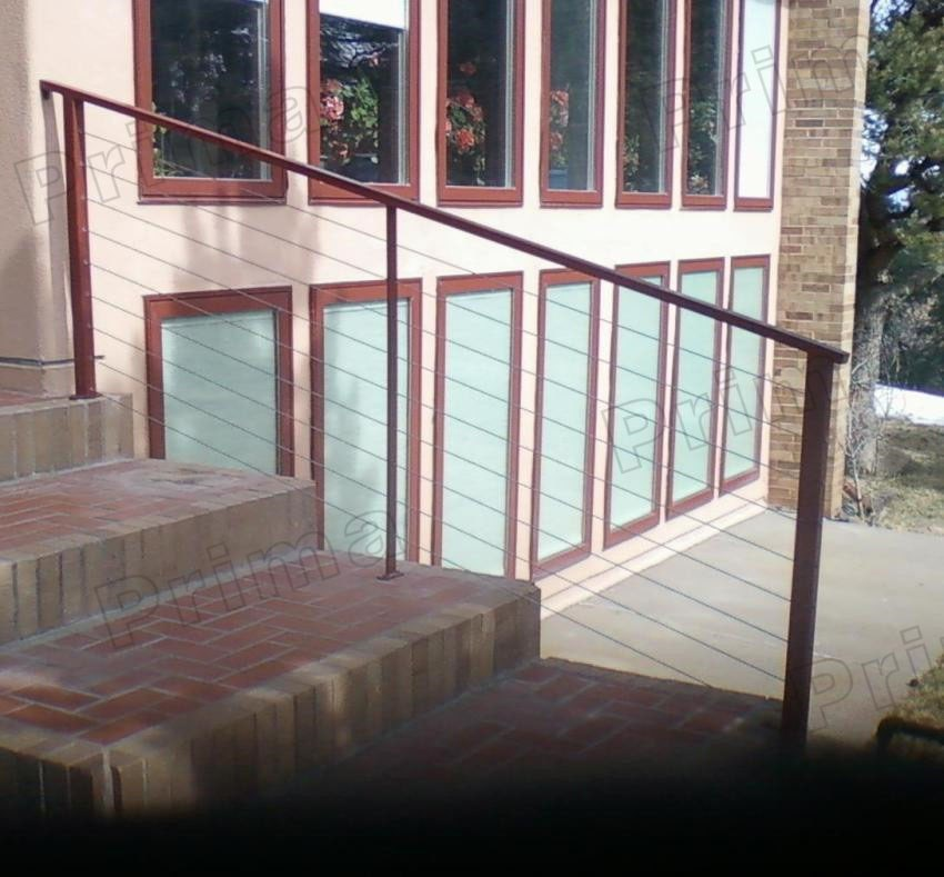 staircase cable railing wooden/PVC handrail outdoor design