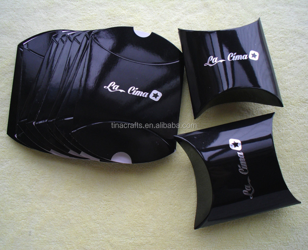 Glossy <strong>black</strong> Paper pillow box with silver logo