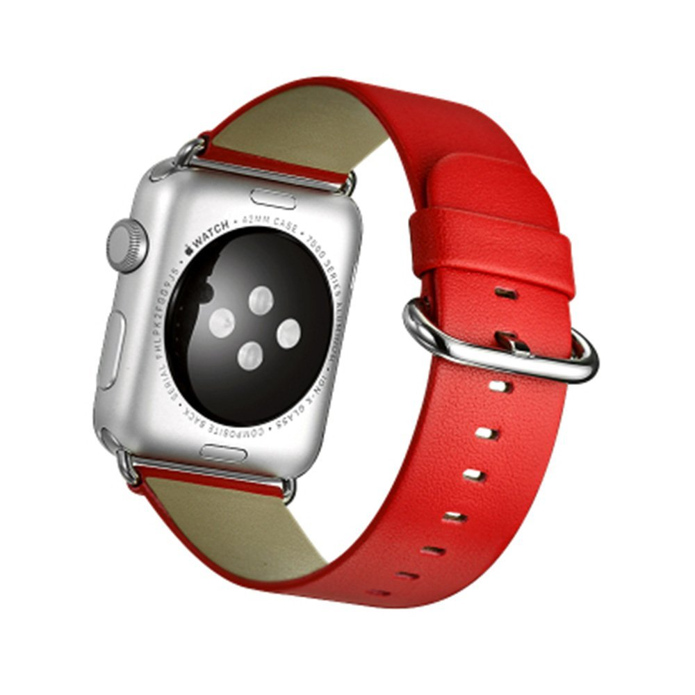 TopAce Apple Watch 2 / Apple Watch Series 2 - Ultra-Slim and Ultra-light 42mm Watch Leather Strap with Premium Genuine Leather for Apple Watch 2 / Apple Watch Series 2 (Red)