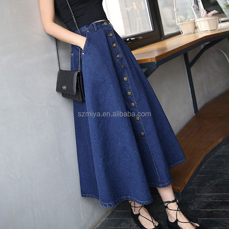 Fashion Women A Line Denim Maxi Skirt Wholesale Long Denim Skirts