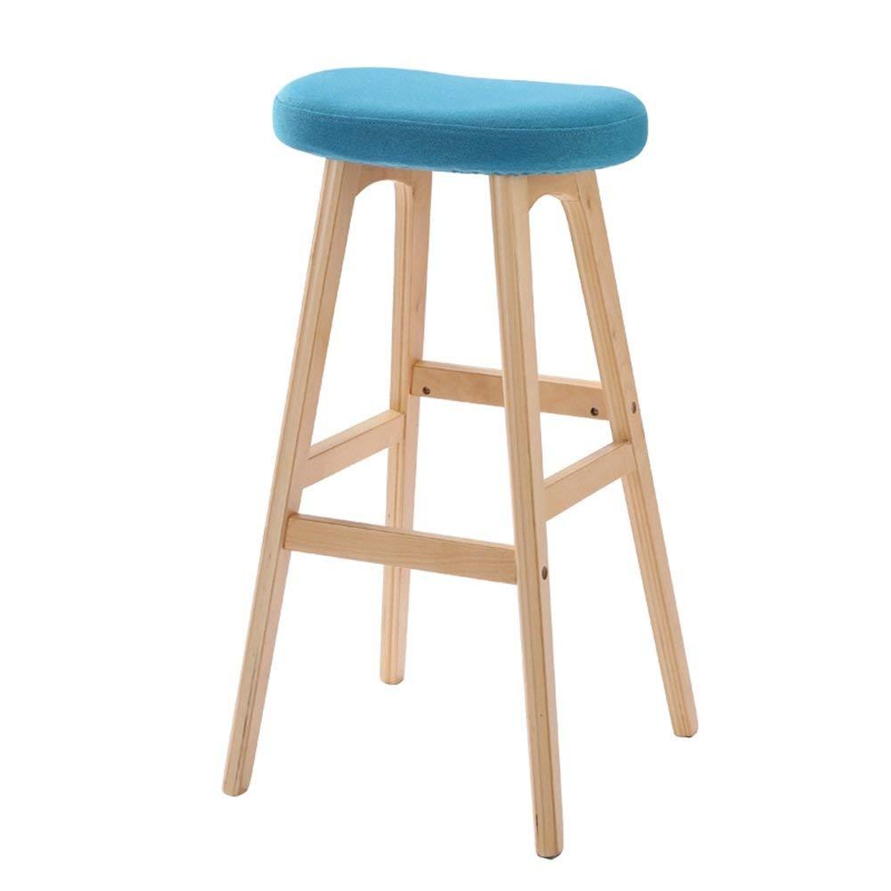 YD Bar chairs Bar Stool Creative Bar Chair Solid Wood Seat High Stool Bar Kitchen Breakfast Chair Coffee Shop Dining Chair European Simple @ (Color : Blue)
