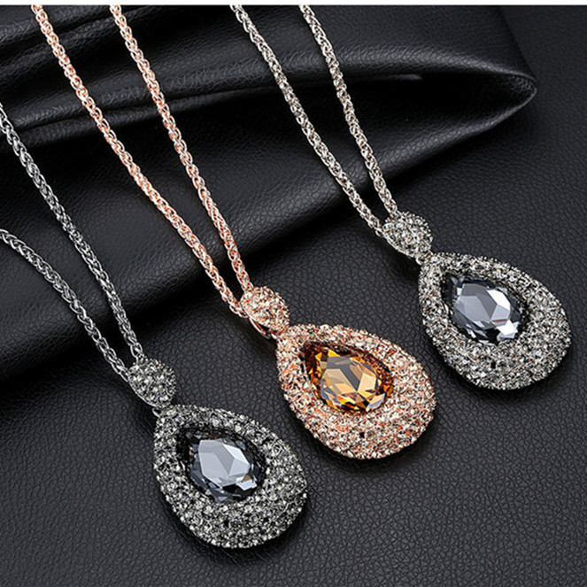 Costume jewellery gold plated sweater necklace zinc alloy venetian tears design MY-0393 teardrop long chain necklace fashion