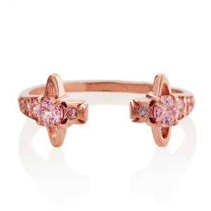 unusual delicate flower pink gold cuff ring jewelry designs for ladies