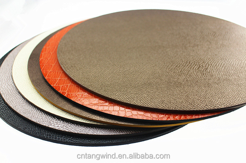 embossed faux leather pu table placemats for round tables