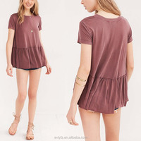 Anly wholesale plain dyed modal short sleeve round neck tee shirts, plus size tops for women wear