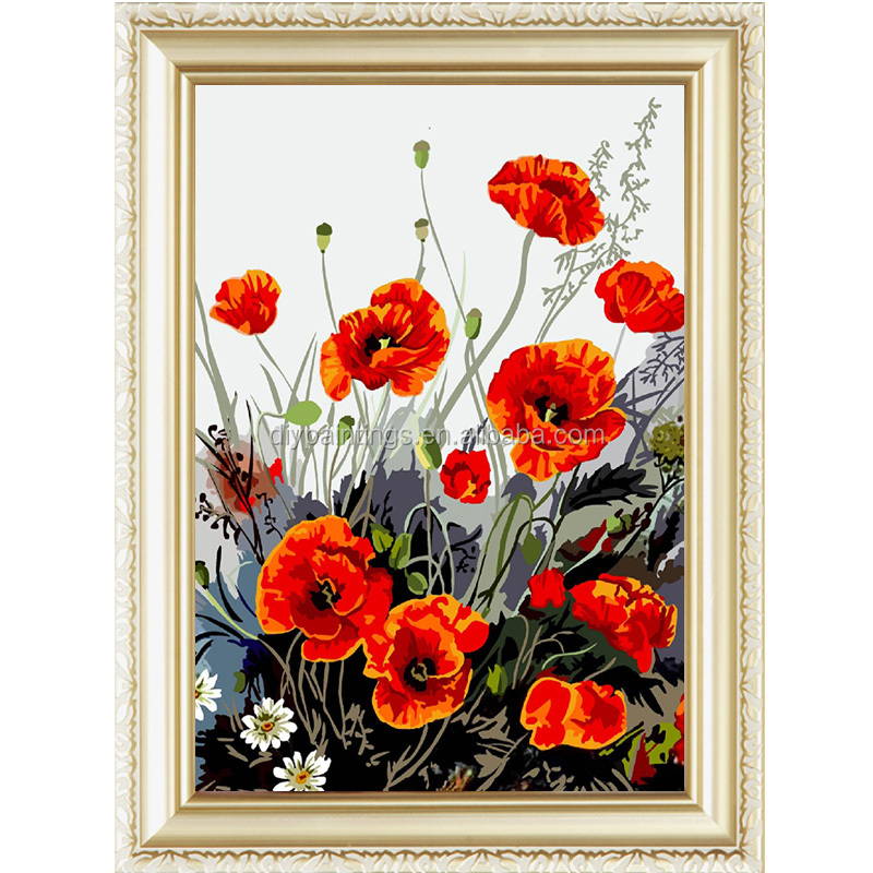 Poppy Flower Designs Fabric Painting By Numbers Kits 4050cm Buy