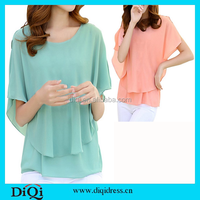 OEM clothes factory china latest women tops fashion chiffon design blouse for mature women wear