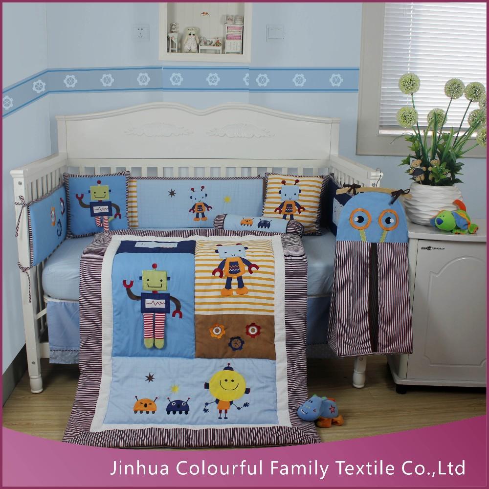 2017 New Boy Design Robot Nursery Bedding Set Crib Baby Beddings Babies Cot