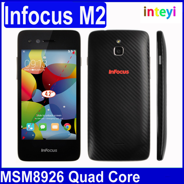 In Stock ! Original Infocus M2 4G FDD LTE 4.2 Inch HD IPS MSM8926 Quad Core Android 4.4 Mobile Cell Phone 1GB RAM 8GB ROM 8MP