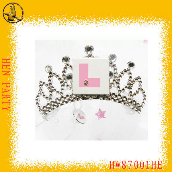 Pink L Plate LED Tiara with White Veil for Hen Party