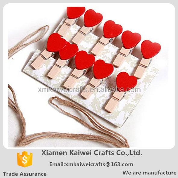 Korean Love Wooden Craft Wooden Clip With Rope