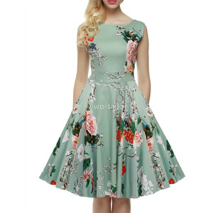 Wholesale women's summer vintage classy rockabilly retro floral pattern print cocktail evening swing short party dress
