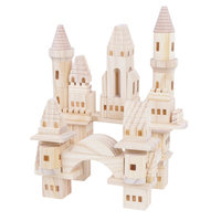 New products 75 pieces of kids wooden castle building blocks educational for kids