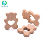 Natural Beech Wooden Teething Toy Baby Wood Teether Silicone Bead Toddler Teether Newborn DIY Baby Gift