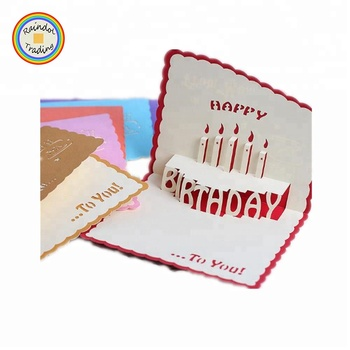 Jhkk041 Rdt Wholesale 3d Happy Birthday Pop Up Paper Folding