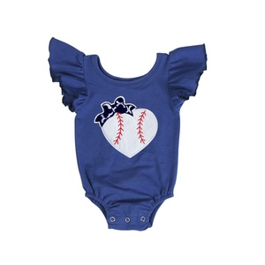 wholesales kids girls baby clothing flutter sleeve sports season outfit cotton baseball romper