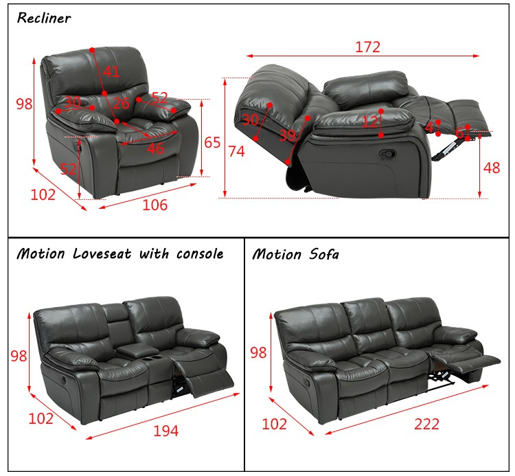 Living Room Motion Sofa With Personalized Experience Leather ZOY D9931A Home Furniture Sofa