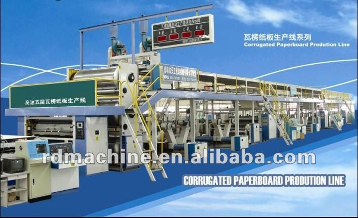 [R5-100-2000]High quality Five plys corrugated cardboard production line