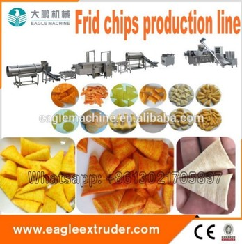 Made in china fried bugles chips snack food processing line with Packing system