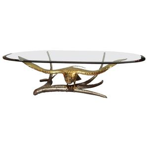 Glass top bronze brass eagle coffee table