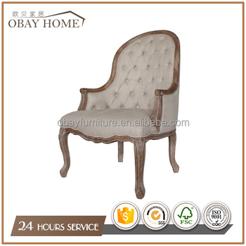 French Antique Chairs traditional nice designs Armchairs Solid Oak Wood Frame chairs With Tufted Back