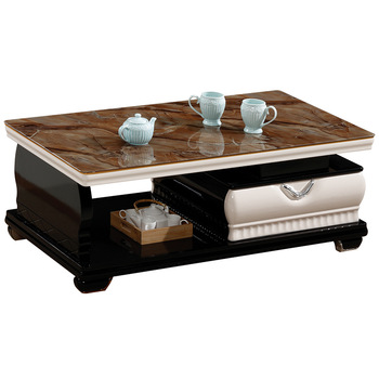 Wood Glass Top Center Sofa Table Living Room Furniture Centre