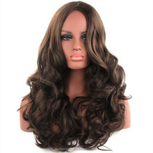 Factory Direct Sale Fashion Ladies Long Hair Wig, Brown Long Curly Hair Waves Wig