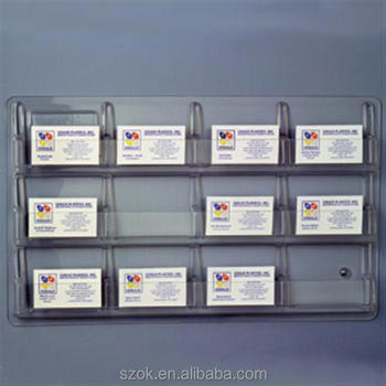 clear acrylic wall mounted small pockets business card display holder racks wholesale - Business Card Display Holder