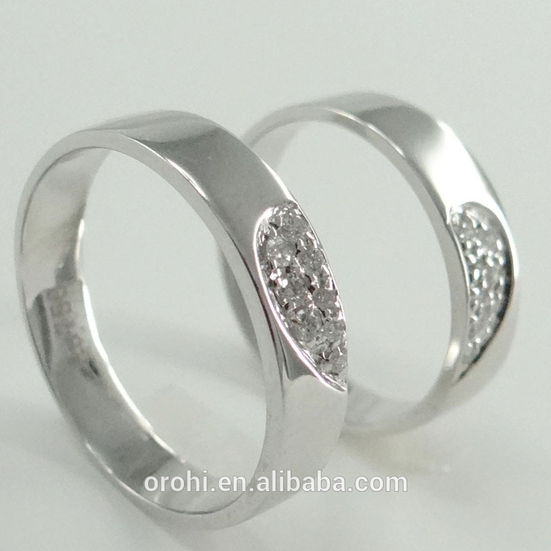 Super Quality White Gold Couple Rings Love Rings With Diamond 8pcs ...