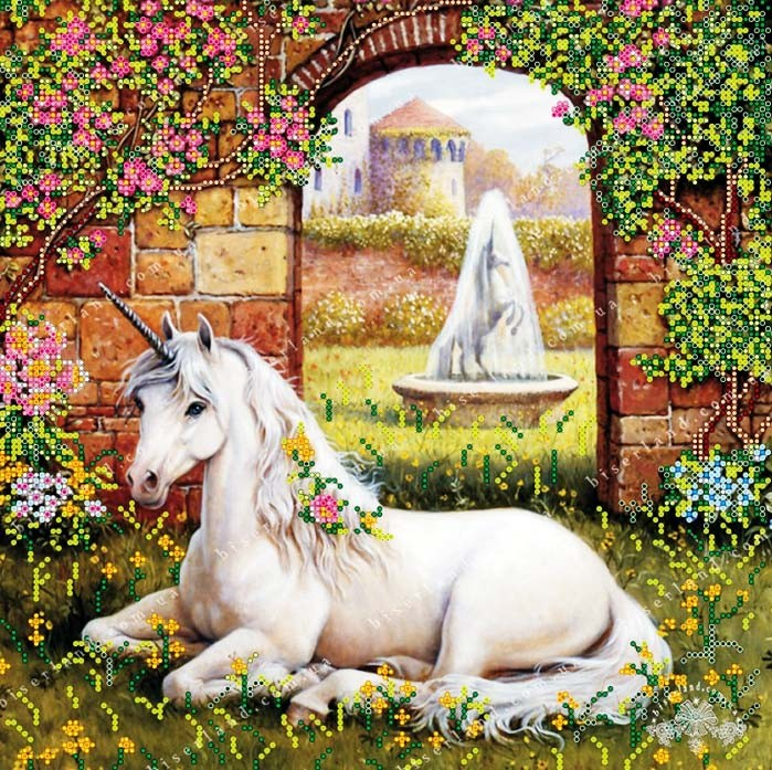 50x50 Cm Landscape Putih Kuda Dengan Rumput Bunga Bordir Berlian