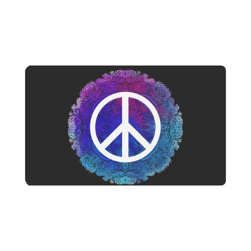 """InterestPrint Hippie Mandala Floral Peace Sign Doormat Indoor Outdoor Entrance Rug Floor Mats Shoe Scraper Door Mat Non-Slip Home Decor, Rubber Backing Large 30""""(L) x 18""""(W)"""