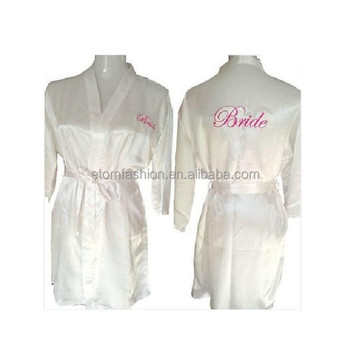 White Satin Bride Robe Bridal Dressing Gown Wedding Bridal Gift ...