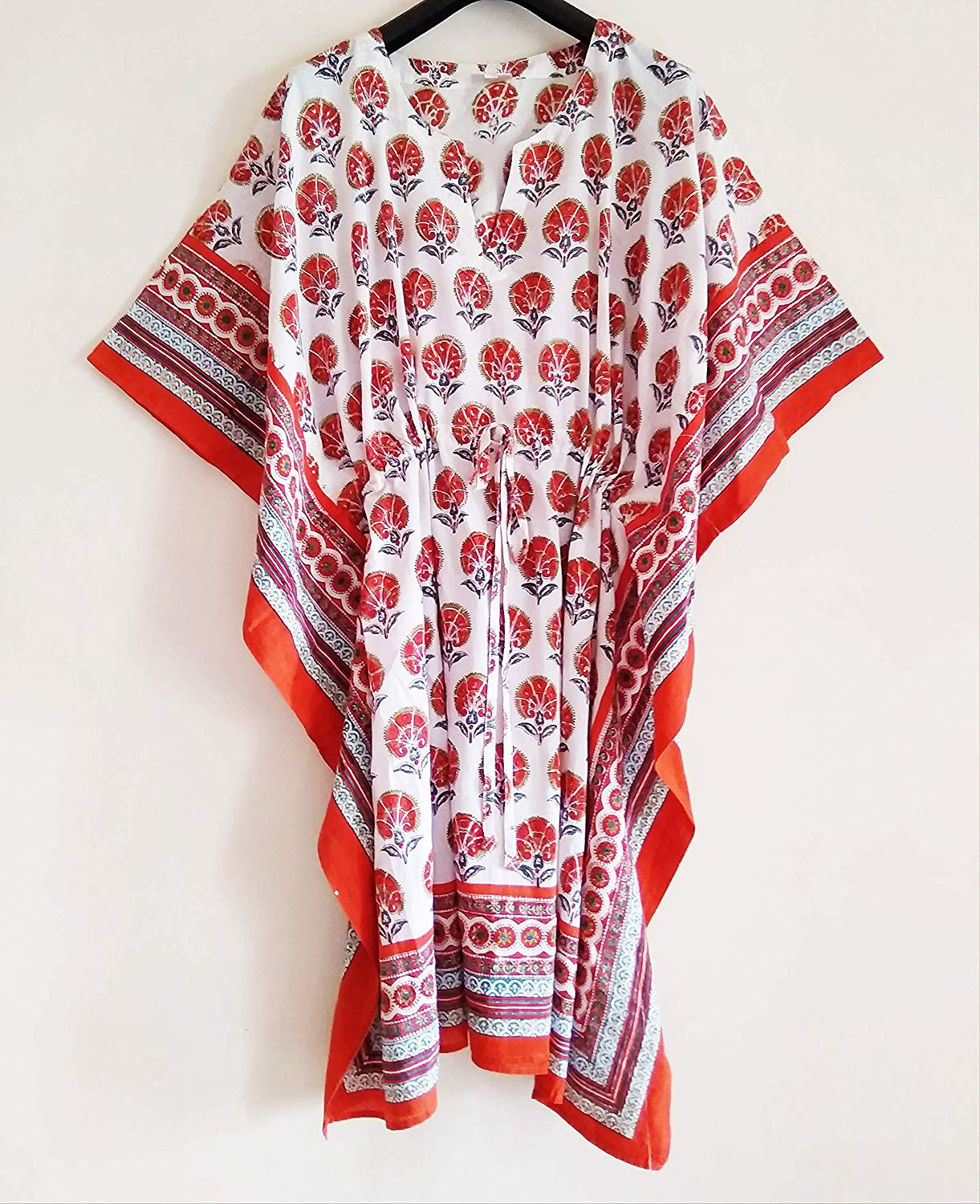 1af6e5125fe Get Quotations · Orange Persian Floral Anokhi Hand block Print Indian  cotton Kaftan Tunic top One size